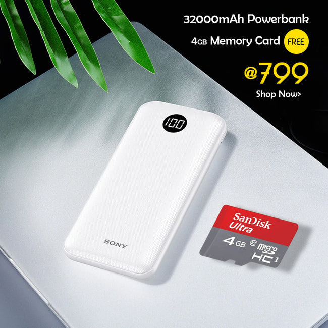 32000mAH Power Bank With 64GB Pendrive free