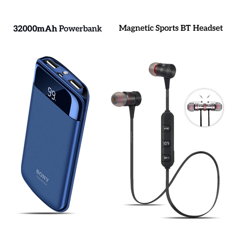 Buy 32000mAh Sony Power Bank With Free Sports Magnet Headset