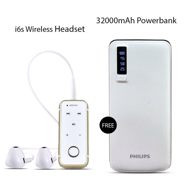 Buy I6S Bluetooth Headset With Free 32000mAh Power Bank