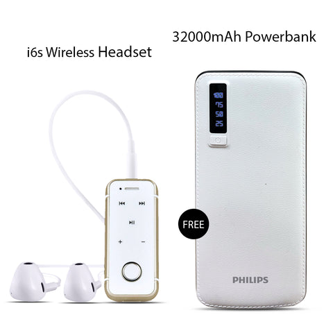 Buy I6S Bluetooth Headset With Free 32000mAh Philips  Power Bank