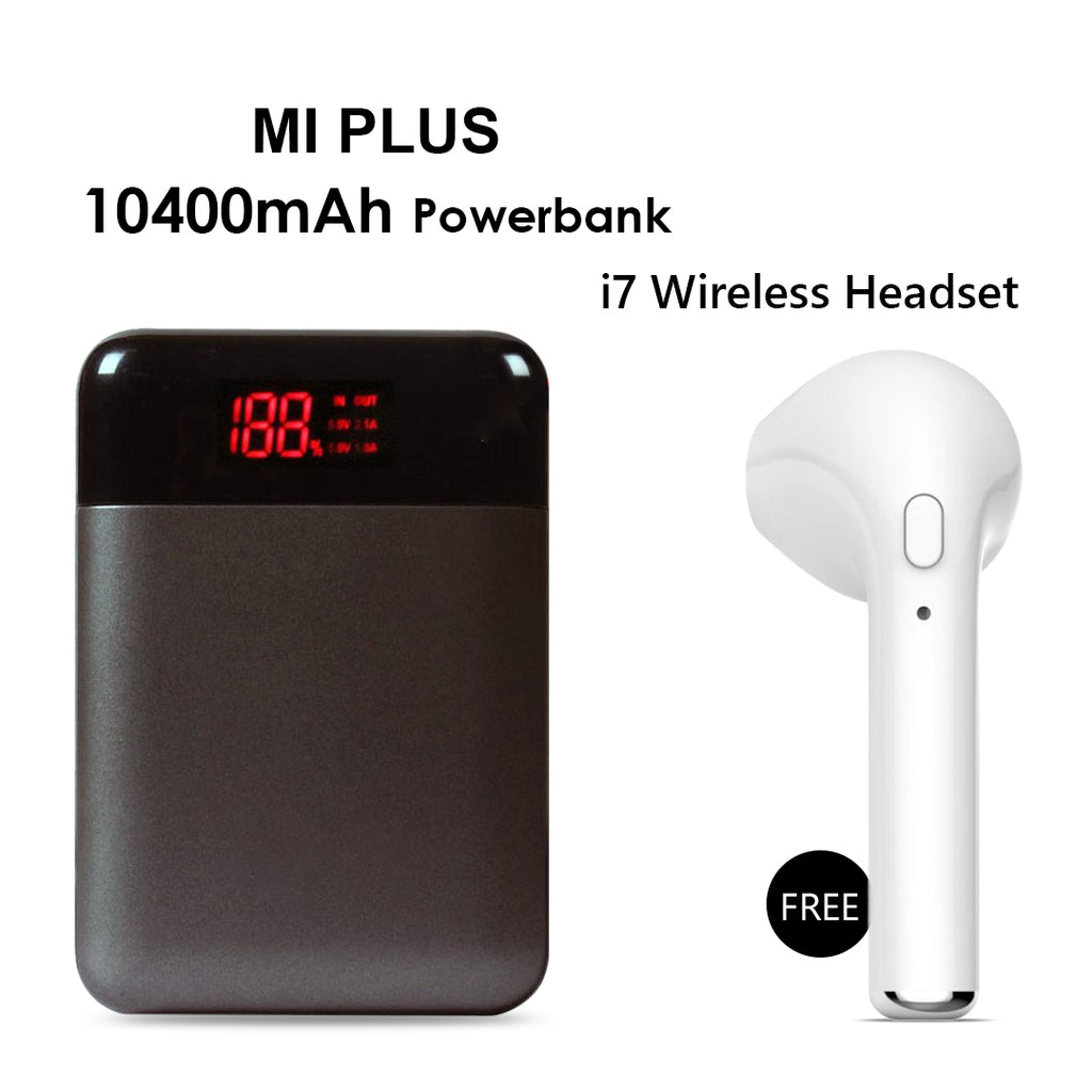 Mi Plus 10400mAh Power Bank With i7 Bluetooth Headset Free
