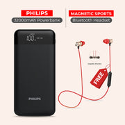 50000mAh Power Bank With Free Magnetic Sports Wireless Headset