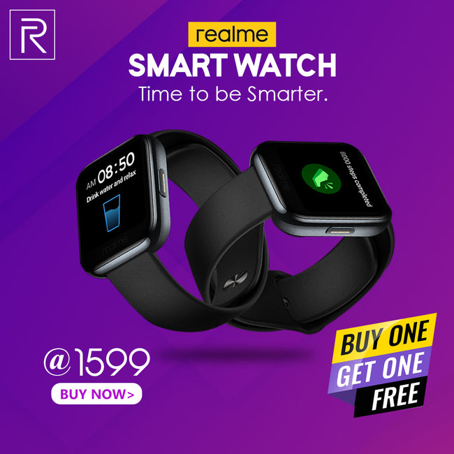 Buy 1 Get 1 Real Me Fashion Watch (Black Strap, Regular) Free