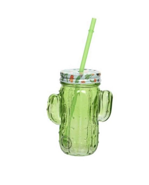 Glass Drinking Jar - Cactus