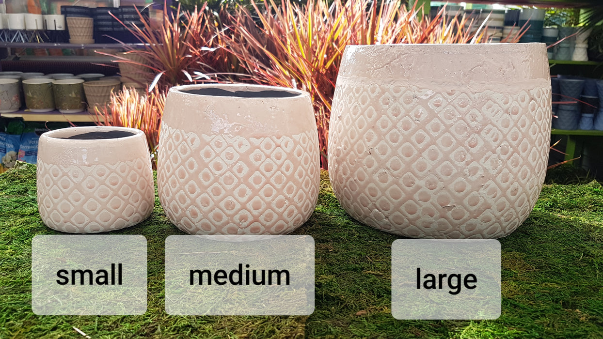 Diamond Pattern Pink Ceramic Pot