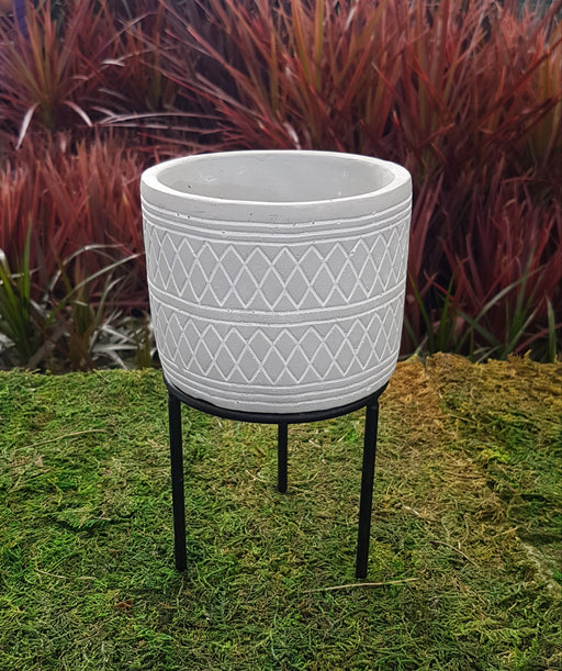 Grey Cement Pot with Stand 4.25""