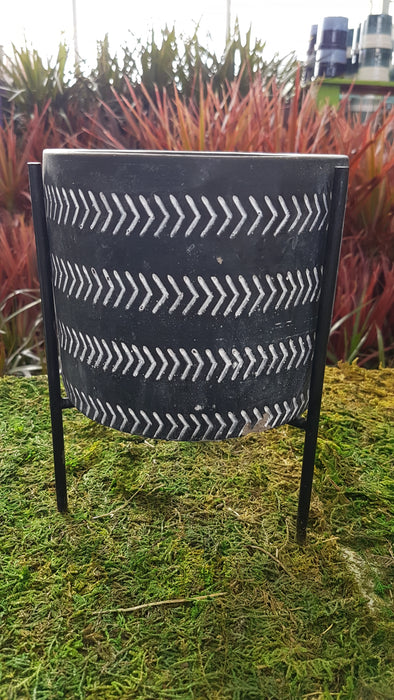 Black Cement Pot with Stand 5.25""