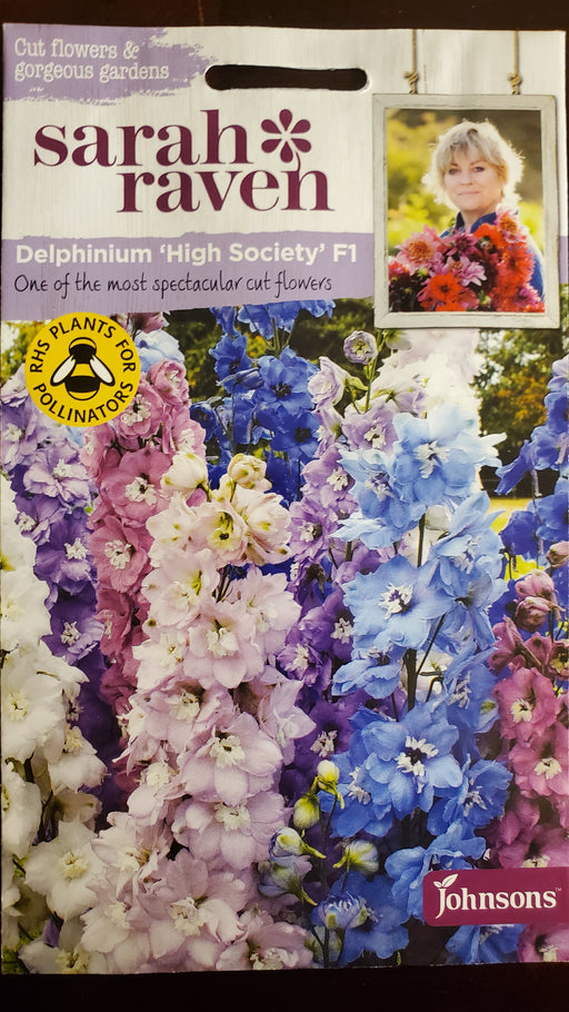 Delphinium 'High Society' F1 - Seed Packet - Sarah Raven