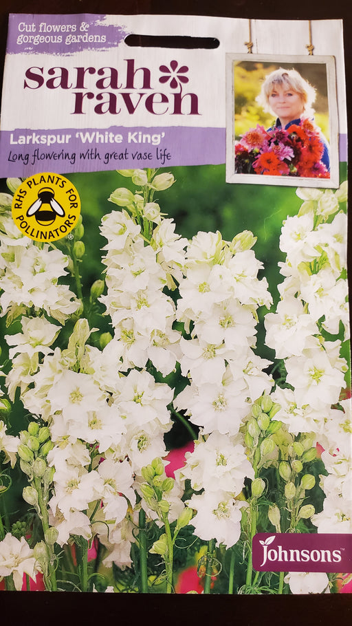 Larkspur 'White King' - Seed Packet - Sarah Raven