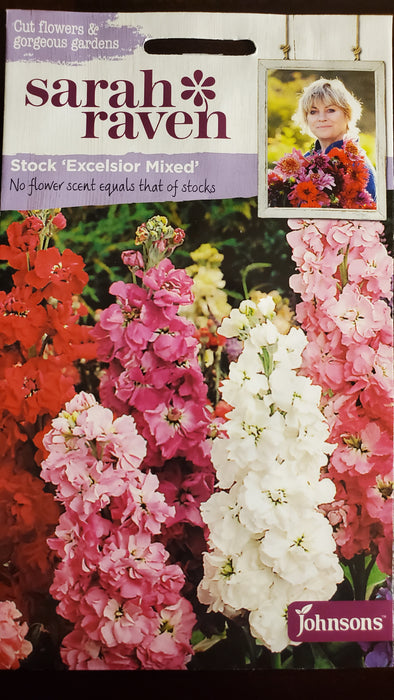 Stock 'Excelsior Mixed' - Seed Packet - Sarah Raven