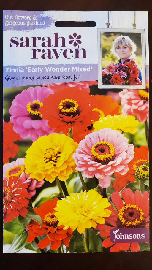 Zinnia 'Early Wonder Mixed' - Seed Packet - Sarah Raven