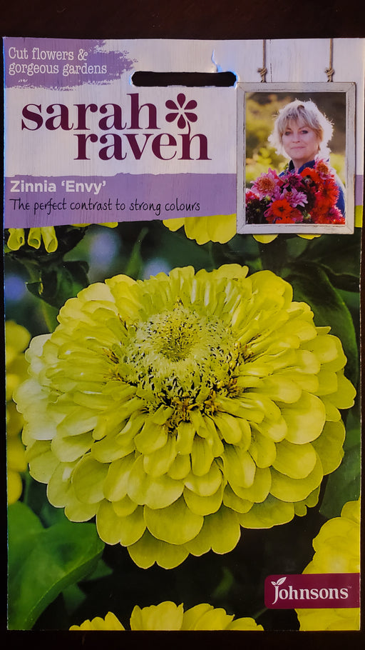 Zinnia 'Envy' - Seed Packet - Sarah Raven