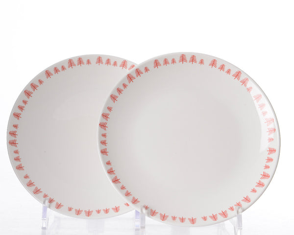 Set of 2 breakfast plates in porcelain