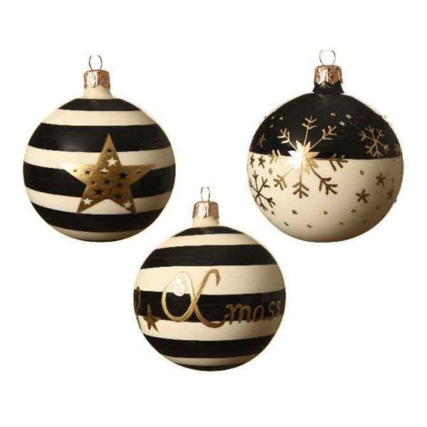 Ornament - Ball - Black n White Stripe