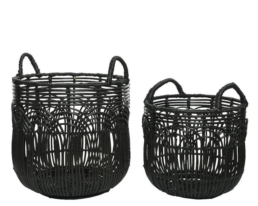 Basket Rattan Black