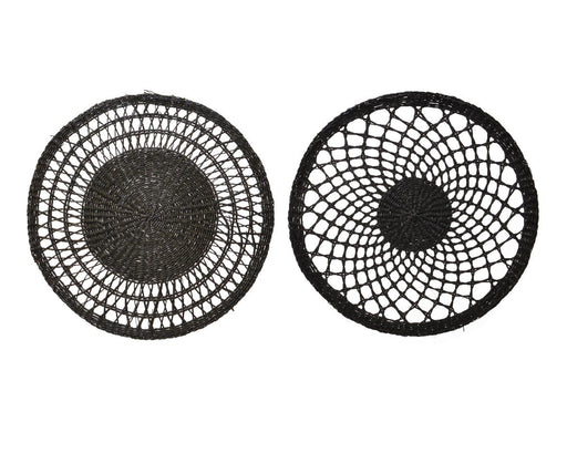 Place Mat Sea Grass Round Black