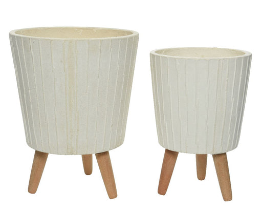 Pot Fibre White with Stand