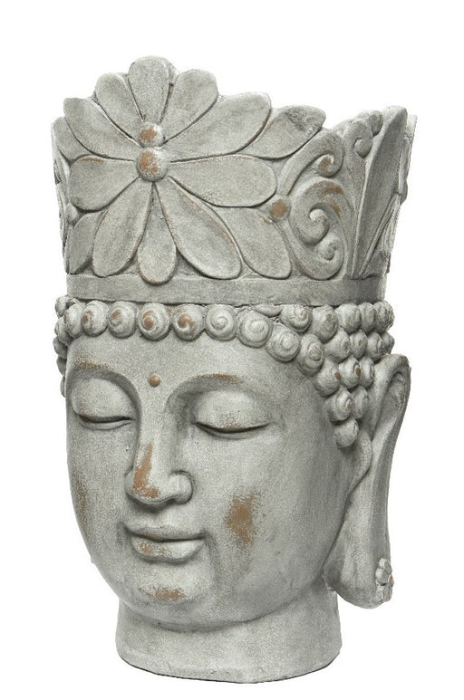 Pot Buddha Head Grey 36cm