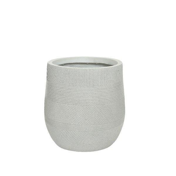 Pot - Fibreclay - Round w/ Stripe - Off-white