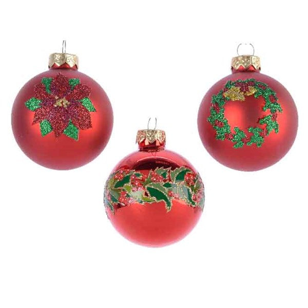 Ornament - Ball - Poinsettia