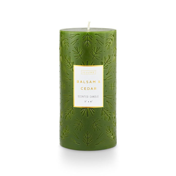 Balsam & Cedar Etched Pillar Candle