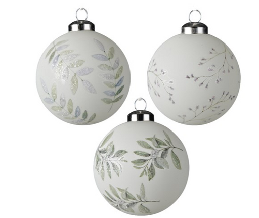 Ornament - White Bauble w/Leaves