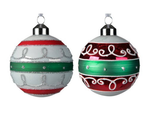 Ornament - Red, White & Green