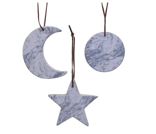 Ornament - Moon/Star/Crescent Marble