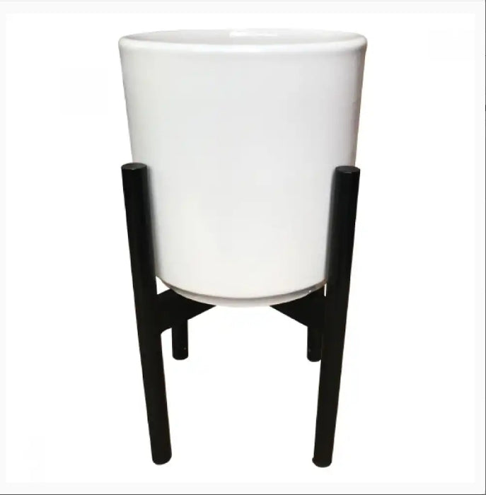Pot Mid Century Cylinder with Stand White