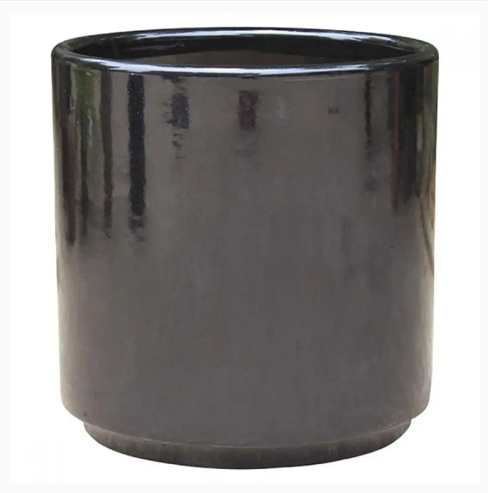 Pot Mid Century Cylinder with Stand Black