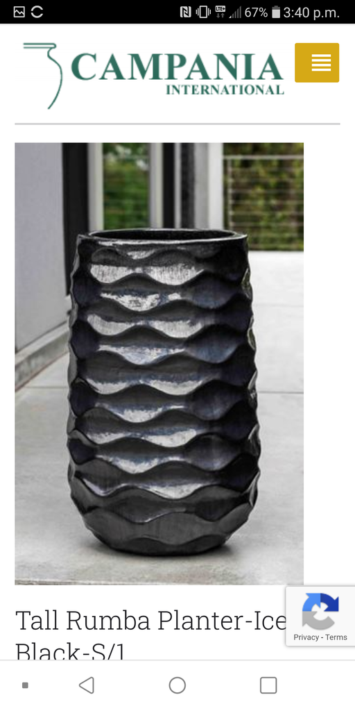 Rumba Tall Planter - Ice Black