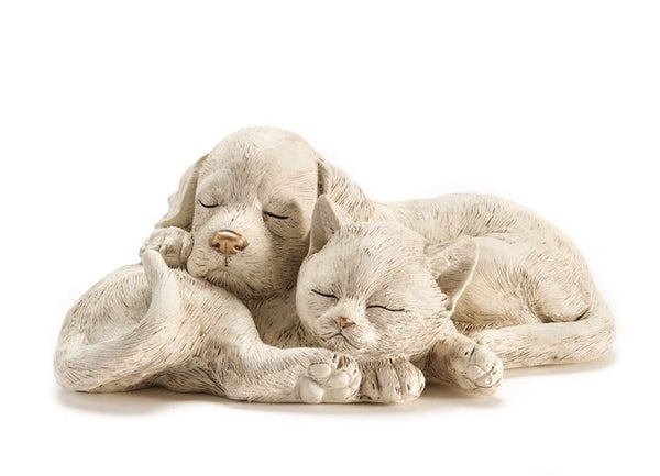 Sleeping Dog and Cat Garden Art