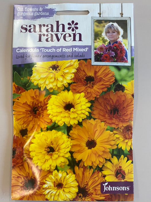 calendula 'touch of red mixed'   - Seed Packet- Sarah Raven