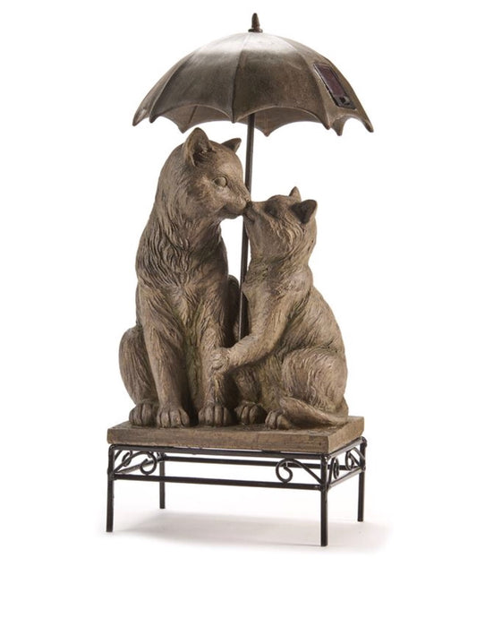 Cats Kissing Under Umbrella Garden Art