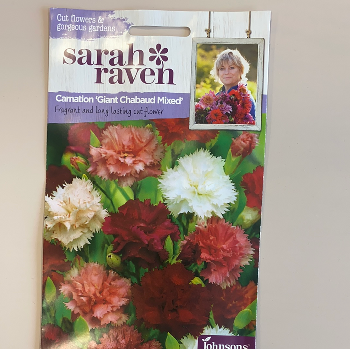 Carnation 'Giant Chabaud Mixed'   - Seed Packet- Sarah Raven