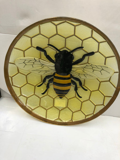 "Bird Bath 18"" Glass Bee"