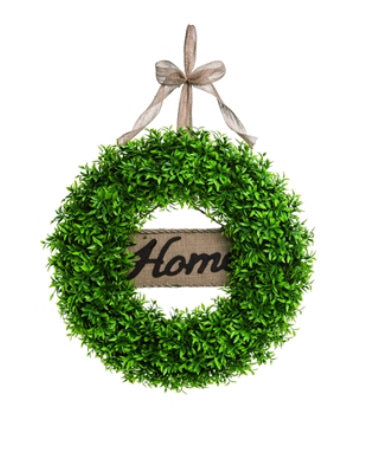 "Wreath 'Home"" Boxwood"