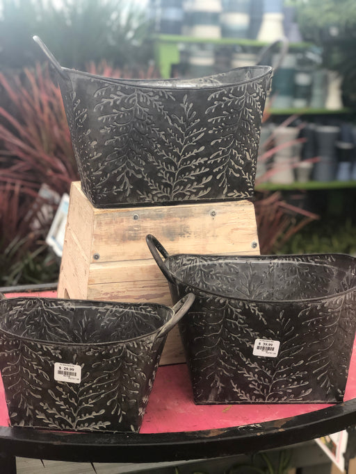 Tin Pots with Embossed Leaf pattern