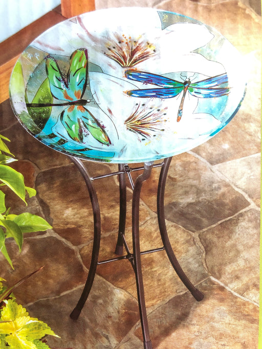 "Bird Bath 16"" dragonfly with Stand"