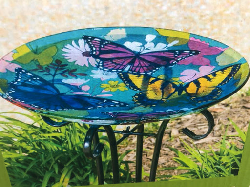"Bird Bath 16"" Butterflies with stand"