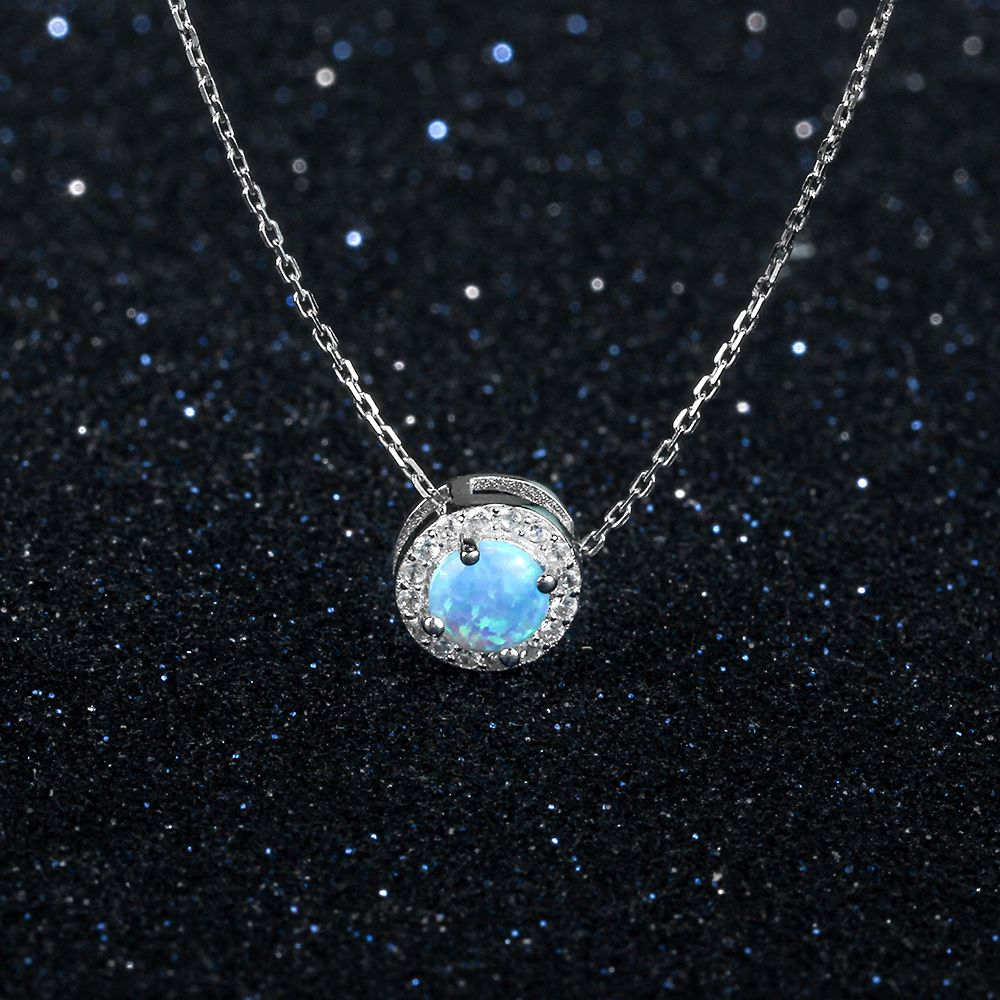 Round Silver & Blue Necklace | Pendant Necklaces