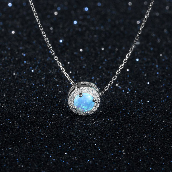 Round Silver & Blue Necklace