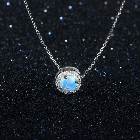 Image of Round Silver & Blue Necklace | Pendant Necklaces