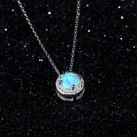 Image of Round Silver & Blue Necklace