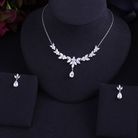 Image of Quality Crystal Earrings & Necklace Set | Jewelry Sets | Geometric