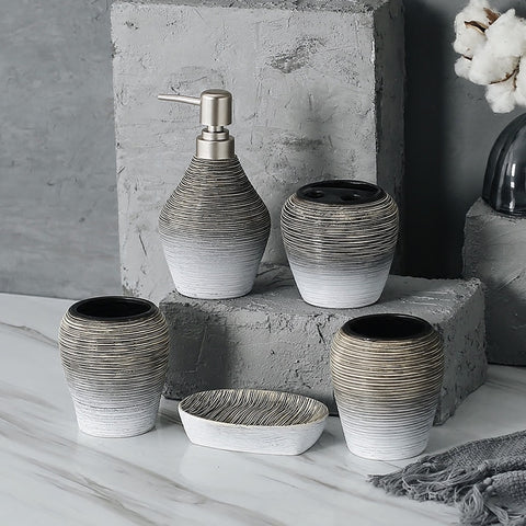 Image of Bathroom Set European | Home Decoration | Decoration | Bathroom tools | Ceramic | grey | Below $200