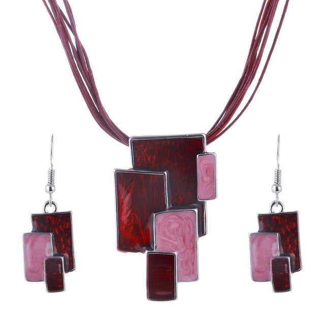 Jewelry set - Multilayer Leather Chain