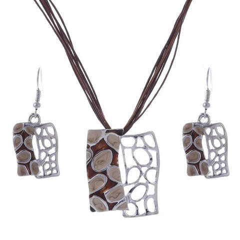 Image of Jewelry set - Multilayer Leather Chain