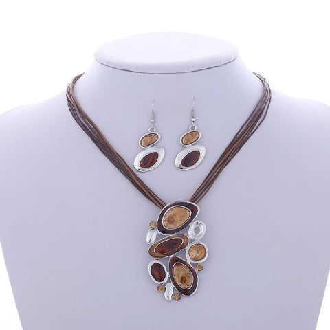 Boho Enamel Jewelry Sets | African Beads | Necklace+Earrings
