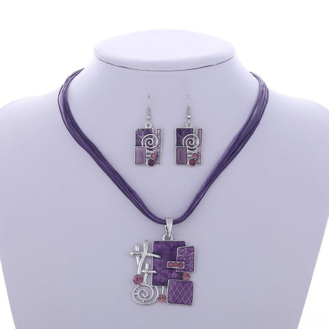 Image of Boho Enamel Jewelry Sets | African Beads | Necklace+Earrings